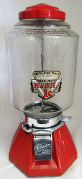 Northwestern Orange Porcelain Penny Peanut / Candy Circa 1930's