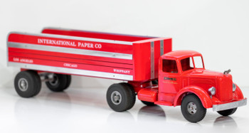 """Smith-Miller Mack """"L"""" Semi  with Flatbed Delivery Trailer Circa 1940's"""