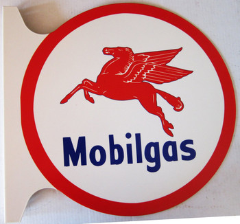 """Mobilgas Flange Sign 19"""" Wide by 18"""" Tall"""