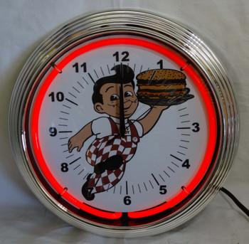 Bob's Big Boy Red Single Neon Clock