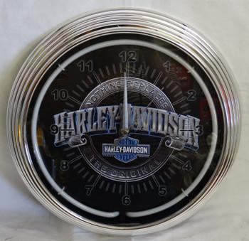 Harley Davidson Nothing Replaces Blue Single Neon Clock