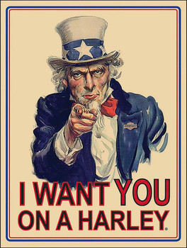 I Want You on a Harley Uncle Sam Metal Sign