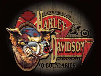 No Boundaries Wild Hog Biker Harley Davidson Metal Sign