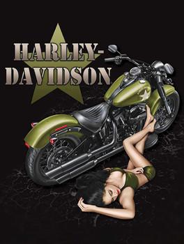 Duty Calls Pin Up Harley Davidson Metal Sign