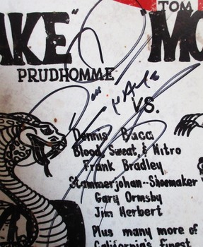 """Don """"SNAKE"""" Prudhomme / Freemont Raceway Autographed Metal Sign"""