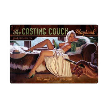 """Casting Couch Vintage Jumbo Metal Sign 36"""" by 24"""""""