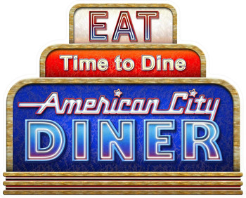 Eat, Time to Dine, American City Diner by Michael Fishel Neon Style Plasma Cut Metal Sign