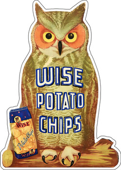 Wise Owl Potato Chips Advertisement Metal Sign
