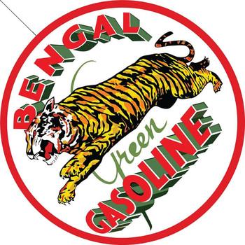Bengal Green Gasoline, Automotive Round Metal Sign