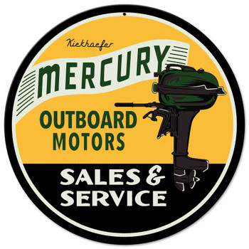 Mercury Outboard Motors Round Metal Sign