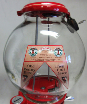 """Columbus Model """"A"""" Peanut Dispenser Penny Operated Circa 1940's Red"""
