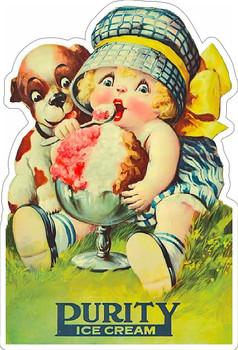 Purity Ice Cream Vintage Advertisement Metal Sign