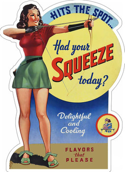Squeeze Hits the Spot Advertisement Metal Sign