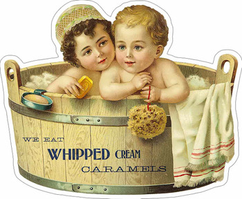 Whipped Cream Caramels Baby Bath Advertisement Metal Sign