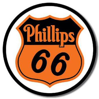 Phillips 66 Gasoline Round Metal Sign