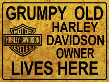 Grumpy Old Harley Owner Lives Here Metal Sign