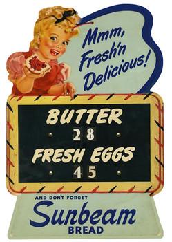Butter and Fresh eggs Sunbeam Bread Advertisement Metal Sign
