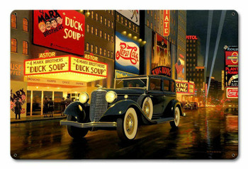 1933 Lincoln Let's Go See Duck Soup Stan Stokes Metal Sign