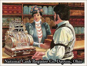 National Cash Register Illustration Metal Sign