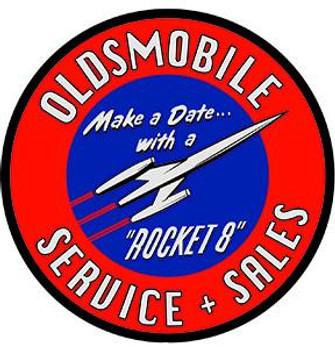 "Oldsmobile Service & Sales  14"" Round Metal Sign"