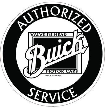 """Buick 14"""" Black and White Round Metal Sign"""