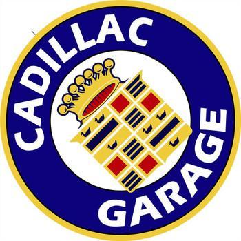 """Cadillac Garage 14"""" Round Metal Sign"""