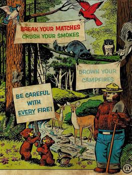 Break Your Matches Smokey Bear Metal Sign