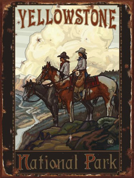 Yellowstone Riders Metal Sign: Sportsman Decor Wall Accent