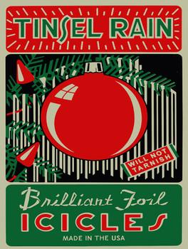 Tinsel Rain Brilliant Foil Icicles Christmas Metal Sign