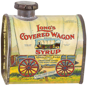 Long's Covered Wagon Syrup Metal Sign