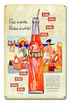 Orange Crush Soda Sip A Smile Metal Sign