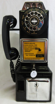 Automatic Electric Pay Telephone 3 Coin Slot 1950's Rotary Dial Operational #2