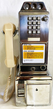 Automatic Electric Chrome Pay Telephone 3 Coin Slot 1950's Touch Tone