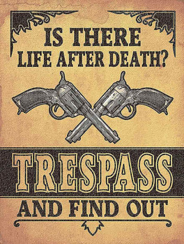 Is There Life After Death Trespass Metal Sign