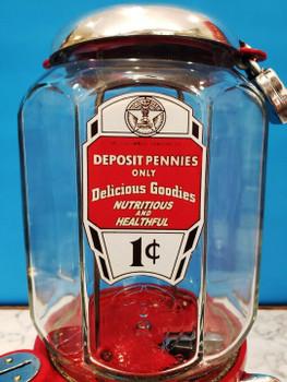 "Columbus Model ""46"" Peanut Dispenser Penny Circa 1930's Aluminum"