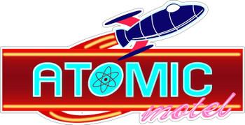 Atomic Motel Faux Neon Plasma Cut Metal Sign