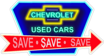 Chevrolet Used Cars Faux Neon Metal Sign