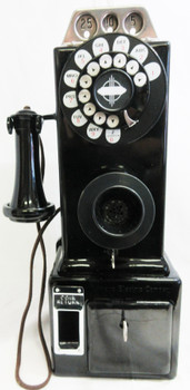 Automatic Electric Pay Telephone 3 Coin Slot 1930's Rotary Dial Fully Restored