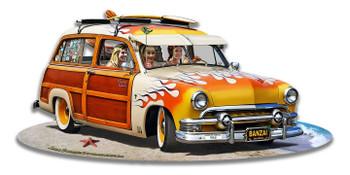 1951 Surf Woody Plasma Cut Metal Sign