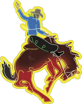 Bronco Cowboy Faux Neon Metal Sign