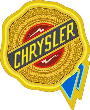 Chrysler Ribbon Faux Neon Plasma Cut Metal Sign