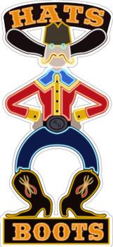 Hats & Boots Cowboy Faux Neon Plasma Cut Metal Sign