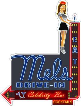 Mel's Drive Inn Faux Neon Plasma Cut Metal Sign