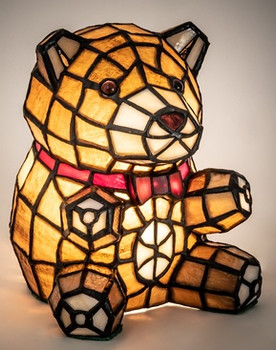 """Teddy Bear Accent Lamp 7"""" Tiffany Style Stained Glass Accent Lamp 13351"""