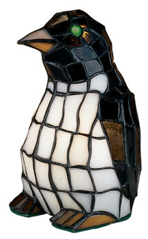 """Penguin Accent Lamp 8"""" Tiffany Style Stained Glass Accent Lamp 18470"""