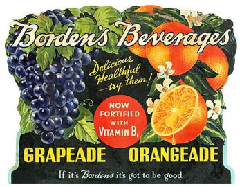 BORDENS BEVERAGES Fruit Advertisement Plasma Cut Metal Sign