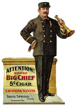 Big Chief 5c Cigar Plasma Cut Metal Sign Advertisement