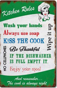 Kitchen Rules Vintage Metal Sign