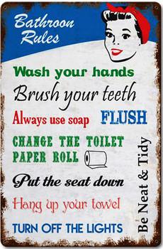 Bathroom Rules Vintage Metal Sign