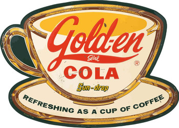 Gold-en Cola  Soda Advertising Plasma Cut Metal Sign